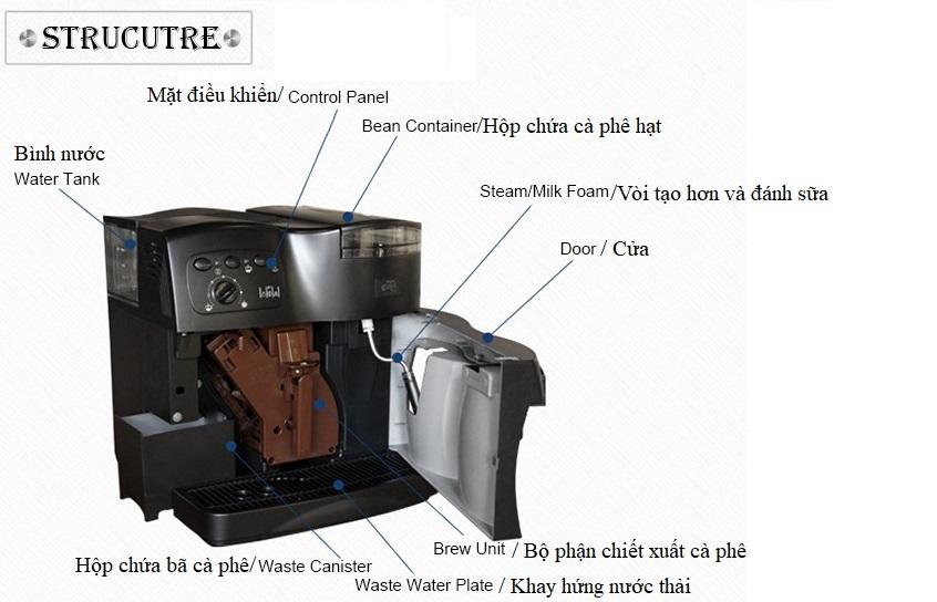 Cấu trúc máy cà phê V6 Lamaca